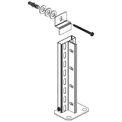 Väggmonteringssats för dokumenthylla META, enkelsidig, ljusgrå