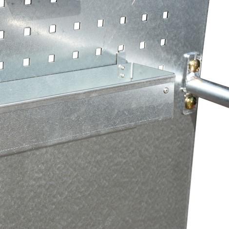 Vano porta-attrezzi per vasca di raccolta con piastra forata