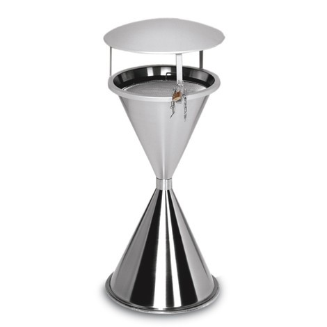 VAR® pedestal ashtray, stainless steel, with roof