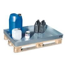 Vasca di raccolta per piccoli contenitori, in acciaio, zincata, per pallet