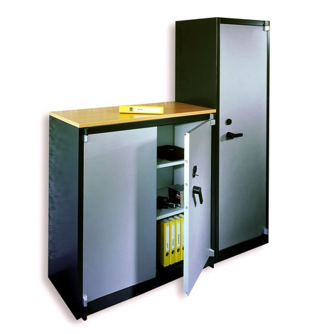 Veiligheidsdraaideurkast C+P, 3 OH, hxbxd 1.226 x 1.200 x 500 mm, zwartgrijs/lichtgrijs