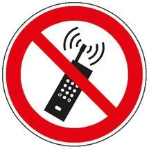 Verbodsbord – Ingeschakelde mobiele telefoon verboden