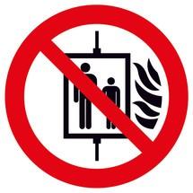 Verbodsbord lift in geval van brand niet gebruiken
