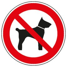 Verbodsbord – Meevoeren van dieren verboden