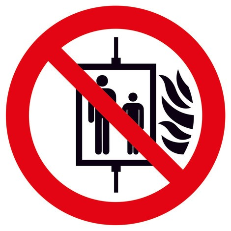 Verbotsschild – Aufzug im Brandfall nicht benutzen