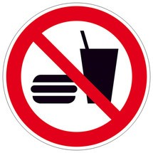 Verbotsschild – Essen und Trinken verboten