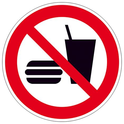 Verbotsschild Essen und Trinken verboten, Folie, Ø 20cm