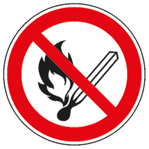 Verbotsschild Feuer, offenes Licht und Rauchen verboten