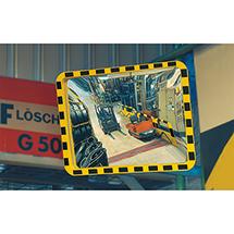 Verkehrsspiegel Eucryl aus Acrylglas. Gelb-schwarz