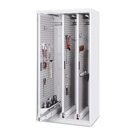 Vertikalauszugsschrank ohne Türen. 3 - 5 Lochwandauszüge