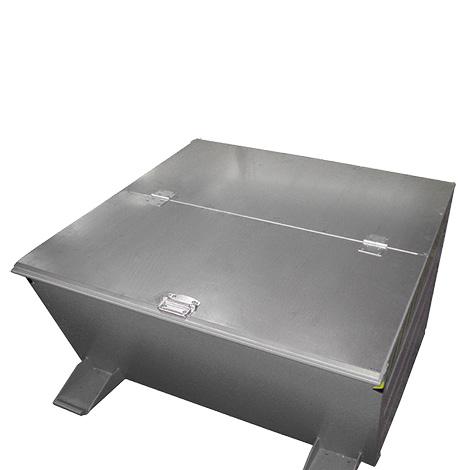 Verzinkter Deckel für Kippbehälter mit niedriger Schüttkante