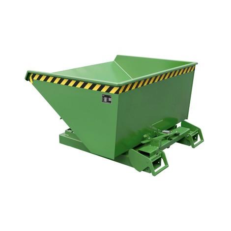 Vippecontainer med automatisk afrulningsmekanik, belastningskapacitet 1.000 kg, malet, volumen 0,6 m³