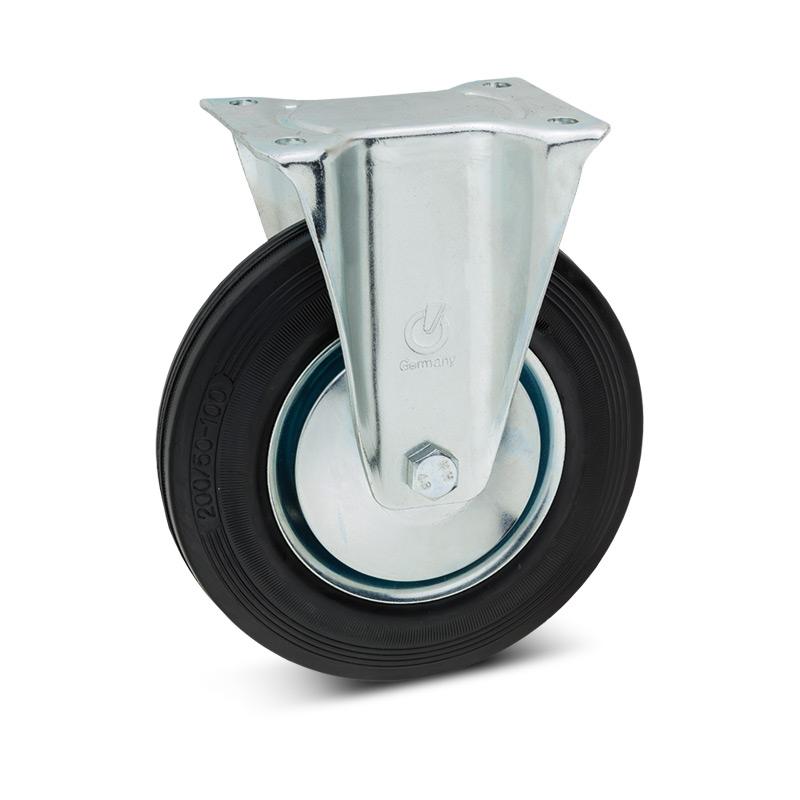 Vollgummi-Bockrollen. Stahlblechfelge. Tragkraft 100 - 475 kg