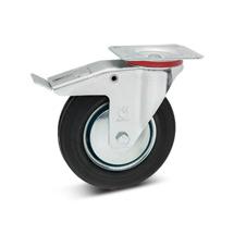 Vollgummi-Lenkrollen mit Feststeller. Stahlblechfelge. Tragkraft 100 - 475 kg