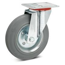 Volrubb. zwenkwielen Premium, niet-strepend. Staalplaatvelg. Cap. 50- 205 kg