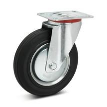 Volrubberen zwenkwielen Premium. Staalplaatvelg. Capaciteit 50- 205 kg