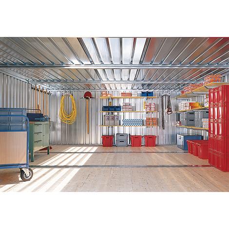 Vormontierter Materialcontainer mit 2 - 3 Modulen, lackiert, mit Holzfußboden