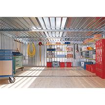Vormontierter Materialcontainer mit 2 - 3 Modulen, verzinkt, mit Holzfußboden