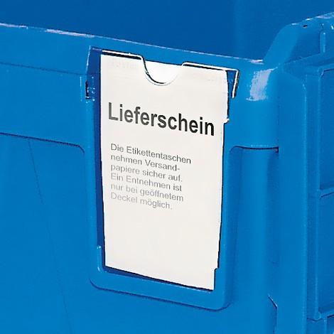 Vratná stohovacia nádoba zpolypropylénu vrátane priehradky na etiketu