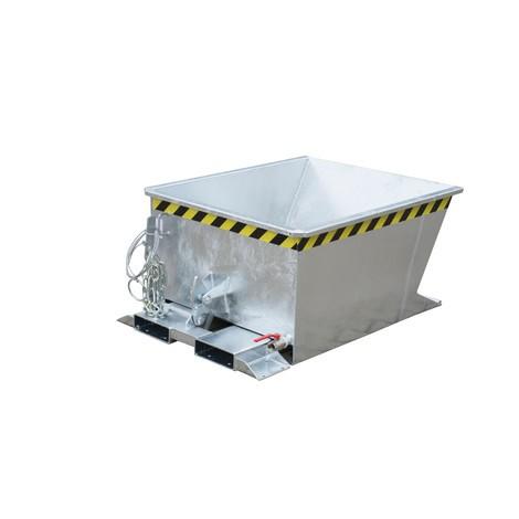 vyklápěcí kontejner třísek pro traťové kladkostroje, pozinkovaný