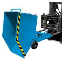 Vyklápěcí zásobník na špony, možnost vykládky vodorovně s podlahou, lakovaný, objem 0,25 m³, s vjezdovými kapsami