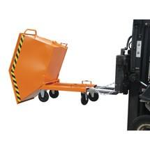Vyklápěcí zásobník na špony, možnost vykládky vodorovně s podlahou, lakovaný, objem 1 m³, s vjezdovými kapsami