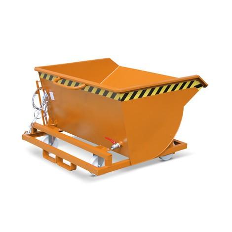 Vyklápěcí zásobník na špony, nízká konstrukční výška, s vjezdovými kapsami, lakovaný, objem 0,5 m³