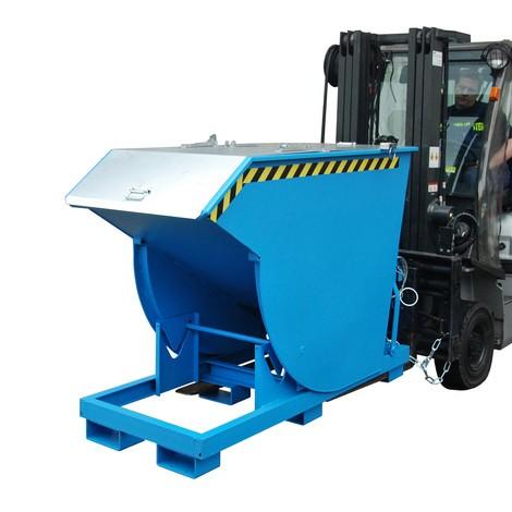Vyklápěcí zásobník s pojízdnou mechanikou Premium, hluboká konstrukce, lakovaný, s víkem, objem 0,75 m³