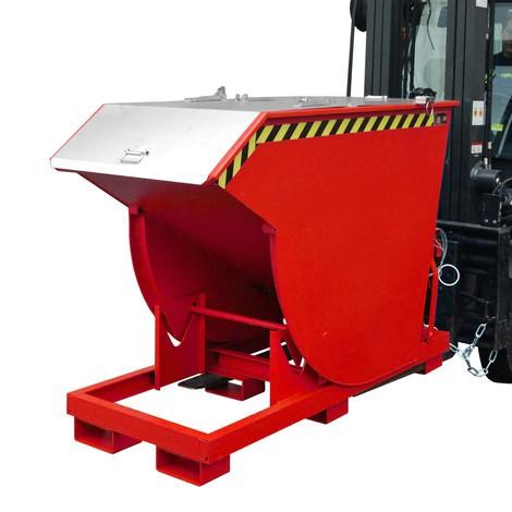 Vyklápěcí zásobník s pojízdnou mechanikou Premium, hluboká konstrukce, lakovaný, s víkem, objem 1,5 m³