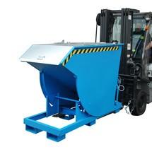 Vyklápěcí zásobník s pojízdnou mechanikou Premium, hluboká konstrukce, lakovaný, s víkem, objem 0,5 m³