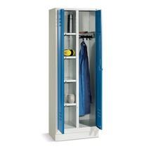 Wäsche- und Garderobenschrank mit Füßen + Zylinderschloss, HxBxT 1.850 x 610 x 500 mm