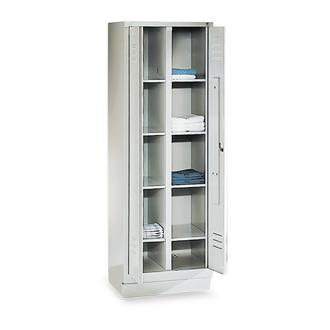 Wäscheschrank mit Trennwand + Sockel + Zylinderschloss, Abteilbreite 300 mm