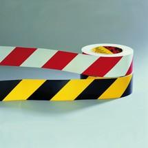 Warning marking tape, retroreflective