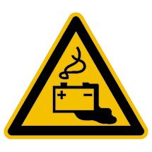 Warnschild Warnung vor Gefahren durch Batterien