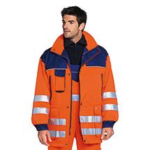 Warnschutz-Ganzjahresjacke, warnorange/dunkelblau