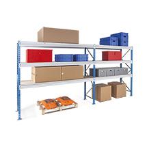 Weitspannregal Komplettpaket,  2 Felder, Stecksystem mit Spanplattenauslage