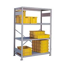 Weitspannregal Stecksystem einzeilig. Fachlast 230 kg, lichtgrau. Grundfeld
