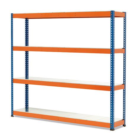 Weitspannregal Stecksystem. Fachlast bis 350 kg, blau/orange