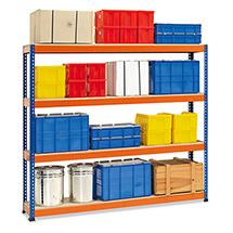 Weitspannregal Stecksystem. Fachlast bis 640 kg, blau/orange