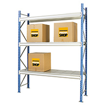 Weitspannregal Stecksystem mit Stahlpaneelen. Fachlast bis 710 kg. Grundfeld