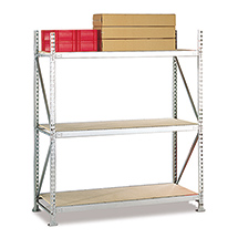 Weitspannregal Stecksystem verzinkt mit Spanplatten. Fachlast 600 kg. Grundfeld