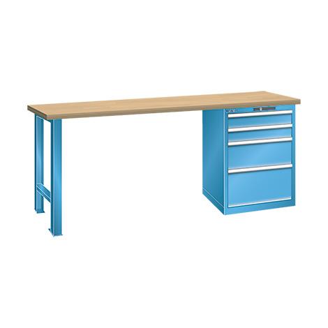 Werkbank LISTA mit Schubladenblock mit 4 Schubladen