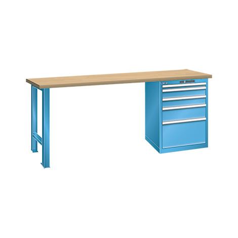 Werkbank LISTA mit Schubladenblock mit 5 Schubladen