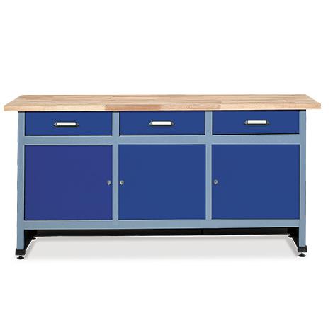 Werkbank mit 3 Schubladen + 3 Türen. Breite 1700 mm