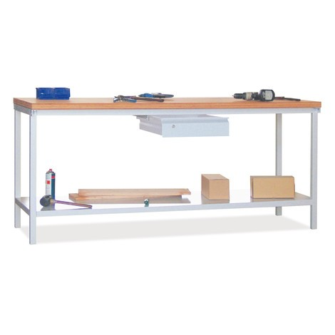 Werkbank PAVOY, 1 lade + 1 legbord, 2000 x 700 x 900 mm