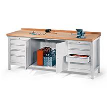 Werkbank PAVOY. 2x4 Schubladen + 1 Schrank, 2000x700x900mm