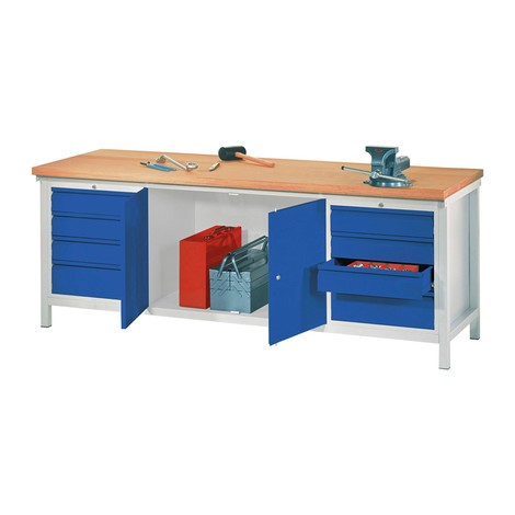 Werkbank PAVOY mit 2 Schubladenblöcken + Schrank, HxBxT 900 x 2.000 x 700 mm
