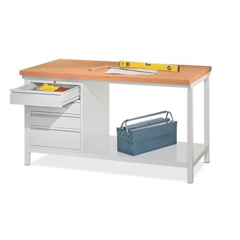 Werkbank PAVOY mit Schubladenblock, HxBxT 900 x 1.500 x 700 mm