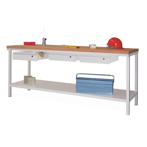 Werkbanktafel PAVOY met 3 lades + aflegvlak, hxbxd 900 x 2.000 x 700 mm