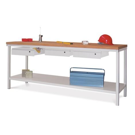 Werkbanktisch PAVOY mit 3 Schubladen + Ablageboden, HxBxT 900 x 2.000 x 700 mm